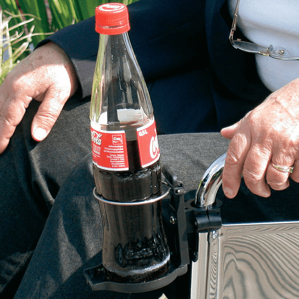 Getränkehalter aus Kunststoff mit Draht in schwarz